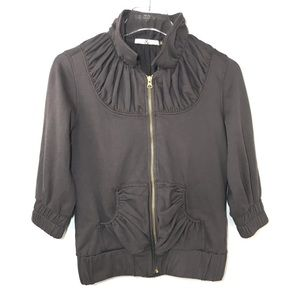 Mike & Chris Zip Up Jacket Cotton Gray 3/4 Sleeve
